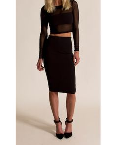 DONNA MIZANI - MIDI SKIRT IN CAVIAR AND LOND SLEEVE BANDED TOP
