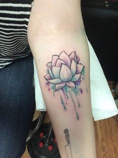 Blue & Purple Watercolor Lotus Flower