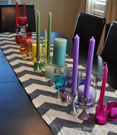 rainbow candles -rainbow art party