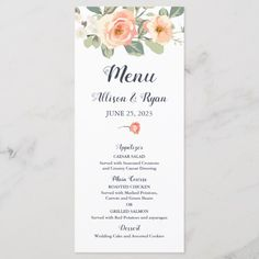 Shop Perfect Peach Floral Wedding Menu created by Personalize it with photos & text or purchase as is! Wedding Buffet Menu, Wedding Menu Cards, Wedding Catering, Catering Menu, Wedding Couples, Lesbian Wedding, Wedding Ideas, Wedding Pictures, Rose Wedding