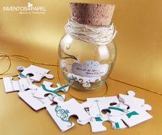 Invitación para matrimonio frasco de vidrio vintage