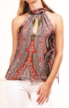 multicolored paisley-print blouse