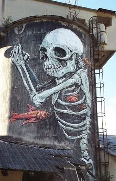 ☆ Skeleton Mural by Internationally renowned Italian Artist Erica il Cane in Sospirolo, Italy ☆