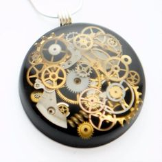 STEAMPUNK PENDANT STERLING SILVER NECKLACE GEARS COGS BLACK RESIN HAND MADE