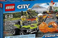 LEGO City Volcano Explorers 60120 Volcano Starter Set Building Kit (83 Piece) by LEGO Features a volcano with an eruption function and a boulder with a crystal element inside