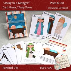"Away in a Manger Nativity Card Game: Download digital images and then make your own ""go fish"" or ""old maid."" Could also modge podge onto blocks for Educational Nativity."