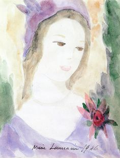 The Athenaeum - Womans Head with Flower (Marie Laurencin - No dates listed)