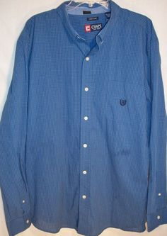 Chaps Ralph Lauren easy care shirt size XXL blue checks dress casual #Chaps #ButtonFront
