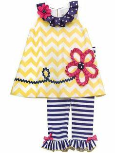 Navy Yellow Chevron Knit Top Legging Set Rare Editions