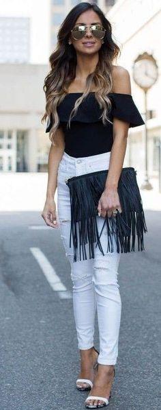 #summer #trending #style   Black off the shoulder top + fringed purse + white denim  Mia Mia Mine