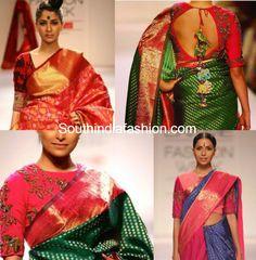 elbow length printed otton blouses with kanjeevarams