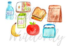 This is a set of 8 different back to school lunch inspired clip art. These food clip art pieces are made using watercolor paint and measures inches. Food Clips, Wedding Card Templates, Watercolour Painting, Graphic Illustration, Different Colors, Back To School, Embellishments, Art Pieces, Wedding Decorations