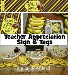 Teacher Appreciation Thanks a Bunch Sign and by themudpiestudio