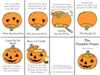 Pumpkin Prayer Minibook - takes children through the carving of a pumpkin with special qualities to remember and thank God for.