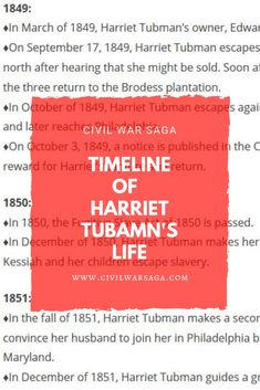 Timeline of Harriet Tubman's Life    #civilwarsaga #harriettubman #abolitionists #civilwarafricanamericans