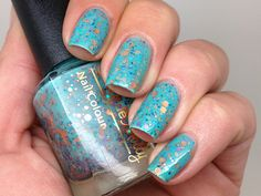 "Emily de Molly Nail polish - ""Serenity"" copper, turquoise and lavender glitter in a green base"