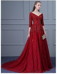 Ball Gown V-neck Sweep / Brush Train Tulle Formal Evening Dress with Beading Appliques Sash / Ribbon Sequins by DRRS Evening Dresses Online, Cheap Evening Dresses, Formal Dresses For Women, Concert Dresses, Gala Dresses, Cheap Lace Wedding Dresses, V Neck Wedding Dress, Opera Dress, Burgundy Evening Dress