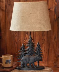 """Black Bear Lamp with Lampshade 22"""" H x 14"""" W x 14"""" D"""