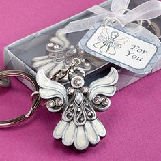 Angel Design Keychain Favors - Put a charming touch on a day that s  filled with joy with these angel design key chain favorsDay in and day out everyone has their keys close by.
