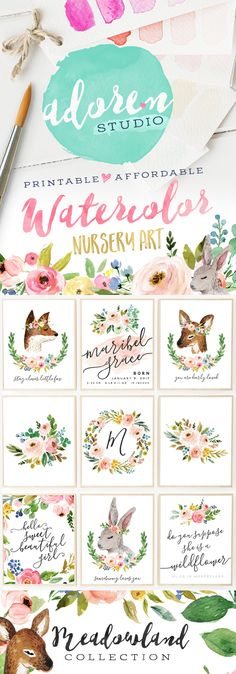 Adorable watercolor nursery printables from Adoren Studio!  The Meadowland Collection features beautiful watercolor florals and sweet woodland animals - mix and match for a nursery set all your own!