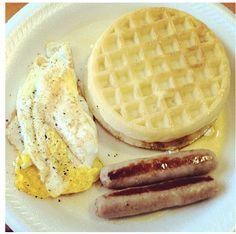 Eggo Waffles,egg,& Turkey Sausage
