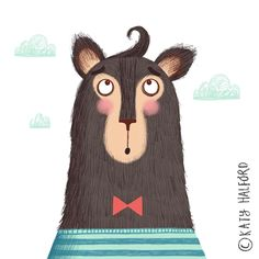 And here he is finished... Once there was a brown bear with a curl upon his hair✨🐻🙈 This weeks #colour_collective... you can see a close up video on my last post! . . #bear #hair #fur #curl #brownbear #bowtie #stripes #clouds #rosycheeks #illo #illustration #kidlit #kidlitart #childrensbooks #childrensillustration #childrensbookillustration #character #characterdesign #katyhalfordillustration #wenge #grizzly #grizzlybear