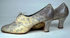 FINE SNAKESKIN 1930's VINTAGE LACE-UP PUMPS - DIAMOND PERFORATIONS - HALL & SONS, LTD - ESTIMATED SZ. 8 1/2M - Available for sale at rpvintage.com - SOLD