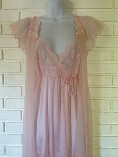Vintage s Gilead Pink Long Nightgown Peignoir Completely Sheer Chiffon Robe Set | eBay