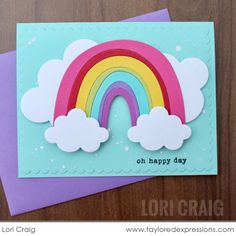 Somewhere Over the Rainbow Card Making Kit Rainbow Card, Rainbow Colors, Over The Rainbow, Copics, Scrapbook Cards, Scrapbooking, Clear Stamps, Happy Day, Pattern Paper