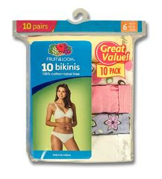 Fruit Of The Loom Womens 10 Pack Cotton Bikini $12