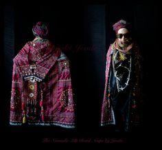 Wearable Art Cape,Ethnic Cape,Bohemian Cape,Gypsy Coat,Tribal Garment,Art To Wear Clothing,Extravagant Cape,Bohemian Clothing,OOAK