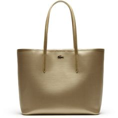 Lacoste Chantaco tote bag in gold or silver piqué leather ($295) ❤ liked on Polyvore featuring bags, handbags, tote bags, bags bags, leather goods, brown tote bag, brown leather purse, leather handbags and purse