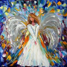 Original oil painting ANGEL whimsical palette by Karensfineart