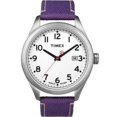 +Vintage Originals (@ Timex) // For women but the large stainless steel case makes it also suitable for men while the purple nylon canvas strap adds POC.