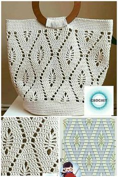 Crochet Fairy, Crochet Lace, Crochet Stitches, Free Crochet, Crochet Square Patterns, Baby Knitting Patterns, Crochet Bag Tutorials, Crochet Projects, Crochet Handbags