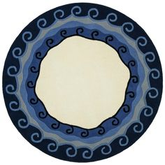 Hand-tufted Malibu Blue Round Wool Rug (8' x 8') - Overstock Shopping - Great Deals on Round/Oval/Square