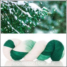 """Snowy Branches"" Resilient Superwash Merino Sock Yarn   /   efa"