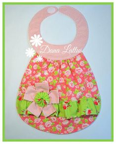Girls Boutique, Baby Boutique, Shabby Chic Baby, Bib Pattern, Baby Bibs, Baby Things, Pink And Green, Craft Supplies, Handmade Items