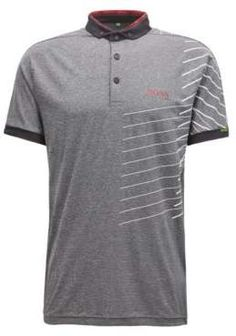 BOSS Hugo Striped polo shirt moisture-management technology L Charcoal