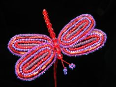 red and purple beaded dragonfly