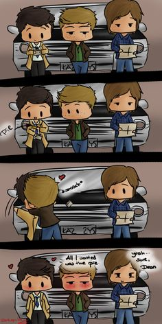 This amuses me cause it's so silly.😆 Destiel Fanart______i REMEBERD that one time Sam used the name agent Gabriel (as in the trickser)and dean was agent Collins (as in misa Collins the person who plays castiel)---; Castiel, Supernatural Fandom, Supernatural Cartoon, Supernatural Drawings, Supernatural Imagines, Jim Moriarty, Sherlock John, Quotes Sherlock, Bbc Sherlock Holmes