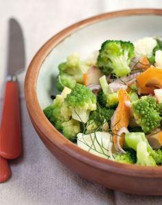 Recette minceur : Salade tiède aux trois choux et haddock