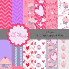 Valentine scrapbook paper by cindyhamiltondesign on Etsy, $4.00