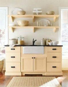 """See the """"Open Shelving: Martha Stewart Living Maidstone Kitchen in Fortune Cookie"""" in our Martha Stewart Living Kitchen Designs from The Home Depot gallery Stylish Kitchen, New Kitchen, Kitchen Decor, Shaker Kitchen, Micro Kitchen, Kitchen Yellow, Pastel Kitchen, Kitchen Art, Country Kitchen"""