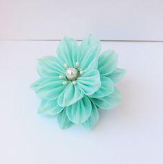 Light Blue Mint Dahlia Tsumami Kanzashi Silk by HanamiGallery, $12.00