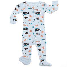 "Amazon.com: Leveret Footed Baby Boy ""Sharks Swimming"" Pajama Sleeper 100% Cotton (Size 6M-5T): Clothing"