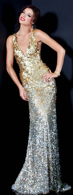 JOVANI - Designer Dress - Gold/Silver