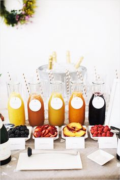 You can also use decorated bottles for serving juices at the Welcome Bar. #weddings#drinks