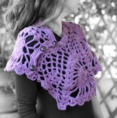chunky lace shawl purple by MmeDefargeYarnworks on Etsy