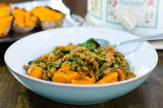 Vegan, gluten free and low fat - this healthy slow cooker lentil soup recipe is delicious and easy to make. The baked sweet potato is a delightful addition.